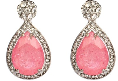 Divitha Allure Silver stone with baby pink stone teardrops from Divitha Allure. Alloy Drop Earring