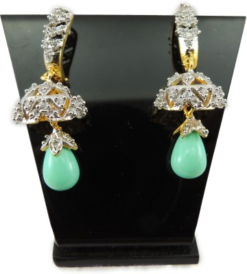 Bharat Sales Copper Green Color With Beautiful Casual Hit Cubic Zirconia Copper Drop Earring