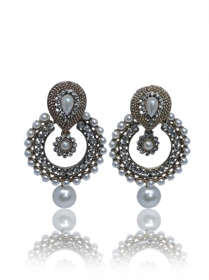 Glam Attires Pearl spring Alloy Earring Set