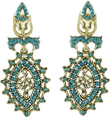The Fine World Golden Base Creatively Patterned And Adorned With Turquoise Stones Zircon Metal Drop Earring