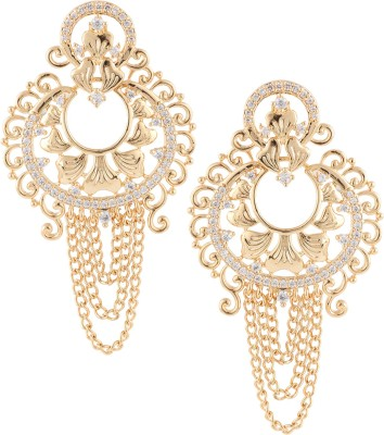 Beautiart Designer Dull Gold Cubic Zirconia Alloy Chandbali Earring