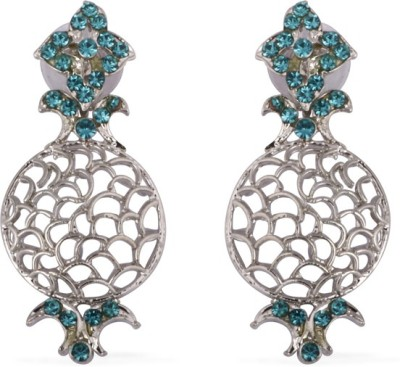 The Fine World Cutwork Embedded Zircon Metal Drop Earring