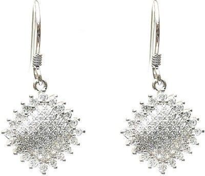 LeCalla Micropave CZ Stone Classy Workwear Sterling Silver Dangle Earring