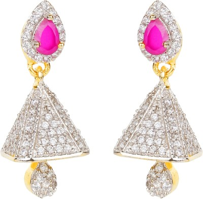 Bling N Beads American Diamond Metal, Silver Drop Earring