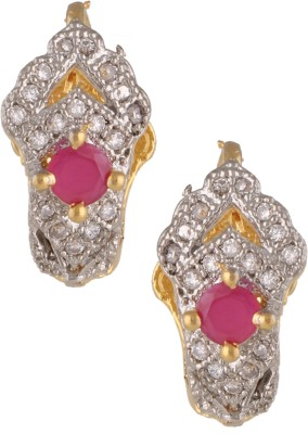 Fashionaya Silver Pink Cubic Zirconia Alloy Stud Earring