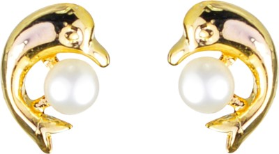 Pearl Paradise Dolphin Pearl Alloy Stud Earring