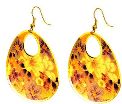 Krishna Mart A Pair Of Floral Design Hippie Danglers Fashion Earrings Brass Dangle Earring