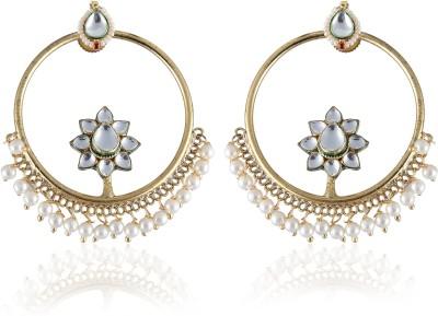 Vastradi Pearls Chandbali Brass, Alloy Dangle Earring
