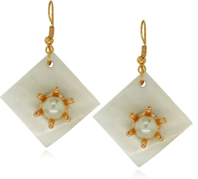 Spargz Fashionable Floral Design Square Sea Shell Alloy Dangle Earring