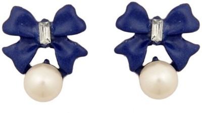 Girlz! Retro and trendy pearl blue boeknot Alloy Stud Earring