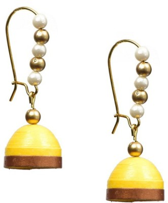 Rivory Bros Yellow Jhumkis Paper Dangle Earring