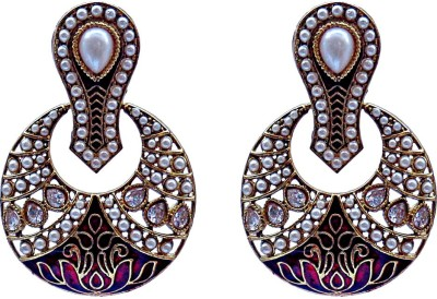 Kundaan Traditional Pair Crystal Brass, Copper Chandelier Earring
