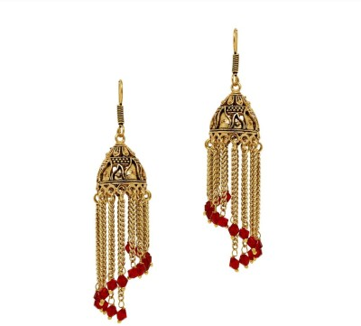 Jaipur Mart Oxidised Red Crystal Hanging Crystal Alloy Jhumki Earring