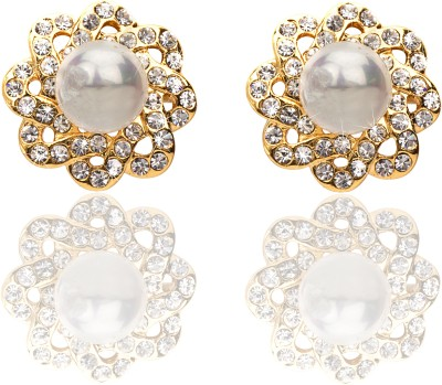 Svelte Exclusive Gold Toned Flower Designer Alloy Stud Earring