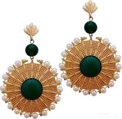 Gems N Pearls 22K Gold Micron Plated Designer Filigree Earrings with Coloured Green Stone and Pearls Brass Chandelier Earring