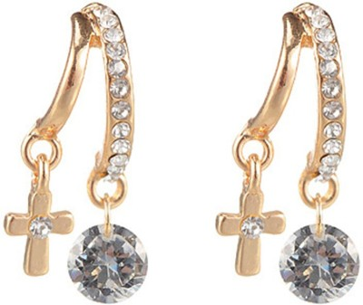 Jewel Touch Dazzle Delight Cross Shape Design Alloy, Glass, Crystal Stud Earring
