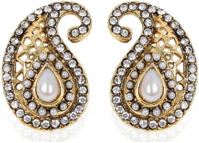 Bezel T - 684 Antique Gold Pearl Alloy Drop Earring