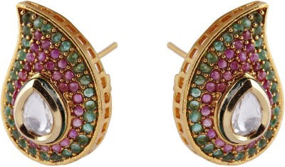 Pink Rose Paan Copper Stud Earring