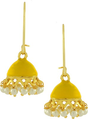 Naveli Small Gold Plated Pearl Shiny Yellow Brass Drop Earring