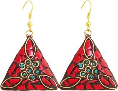 Gems N Pearls Tibetan Mosaic Coral Brass Dangle Earring