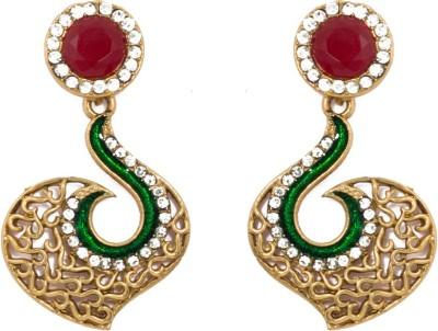 SBS Antique Austrian Design Diamond Brass Drop Earring