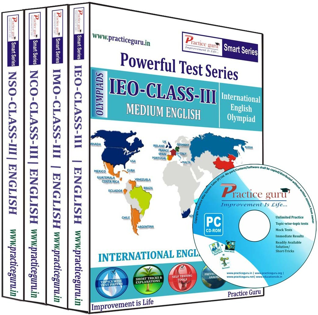 Practice Guru Powerful Test Series (IEO / IMO / NCO / NSO) Medium English (Class - 3) (Combo Pack)