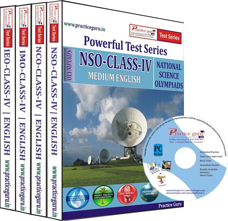 Practice Guru Class 4 - Combo Pack (IMO / NSO / IEO / NCO) Test Series(CD)