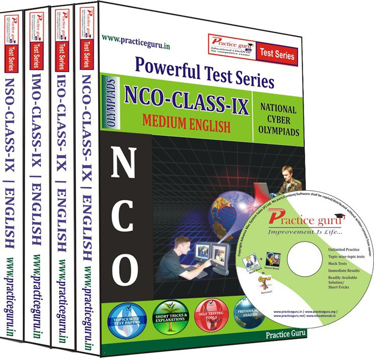 Practice Guru Class 9 - Combo Pack (IMO / NSO / IEO / NCO) Test Series(CD)