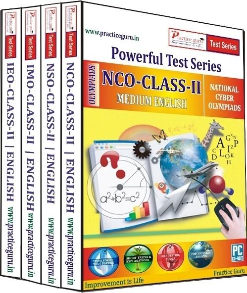Practice Guru Powerful Test Series (IMO / NSO / IEO / NCO) Medium English (Class - 2) (Combo Pack)
