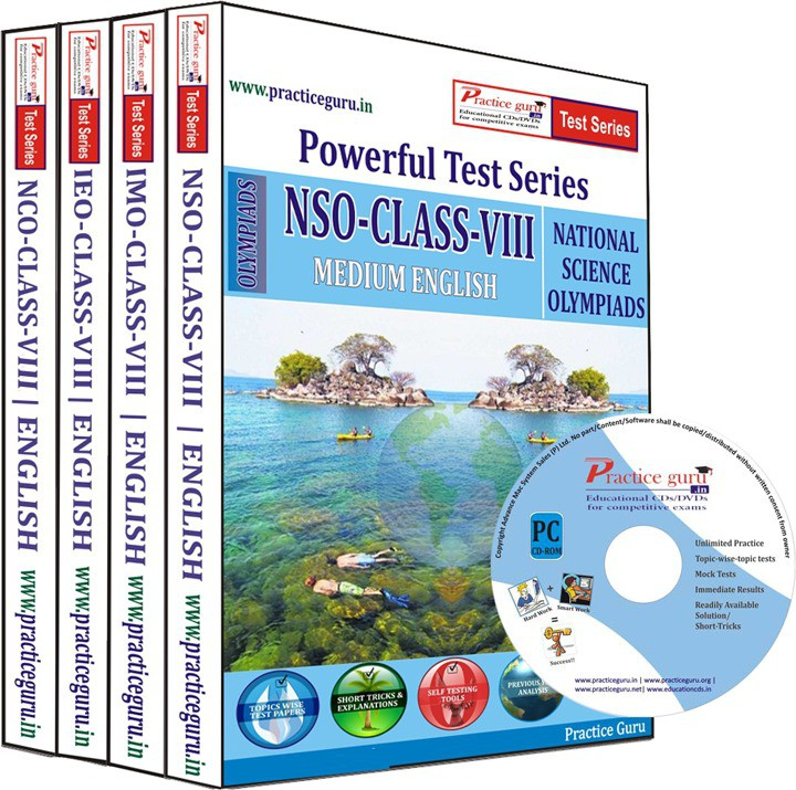 Practice Guru Class 8 - Combo Pack (IMO / NSO / IEO / NCO) Test Series(CD)