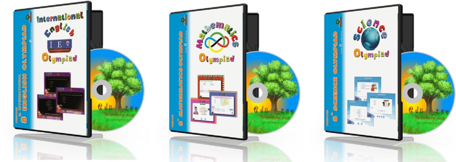 Edutree 8th Science -Mathematics -English Olympiad Combo Pack (In Englilsh ) Exam e Series -Interactive Tests(3 Interactive Cd Pack - Prepared By Expert Team Of Teachers.)