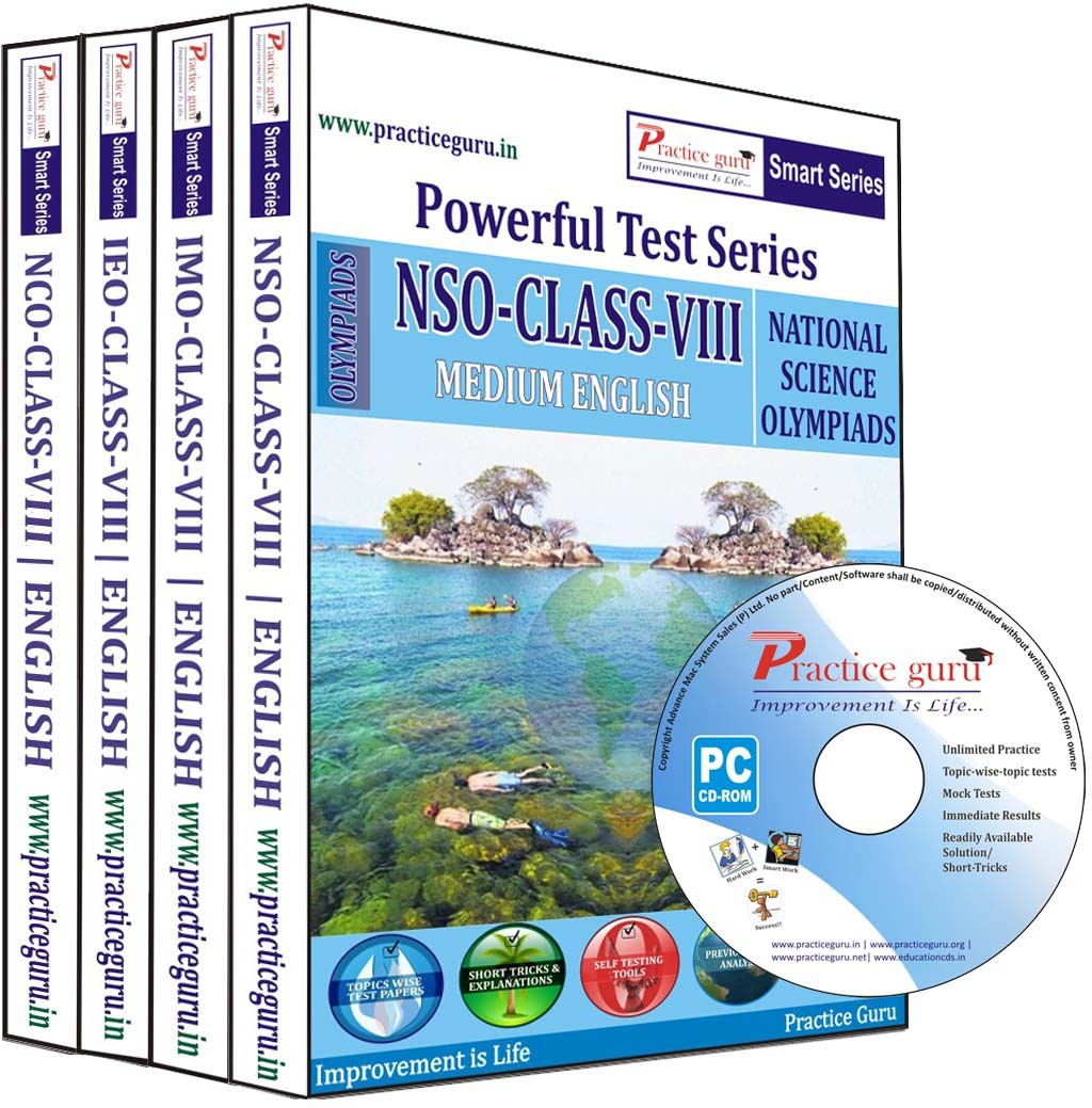 Practice Guru Powerful Test Series (NSO / IMO / IEO / NCO) Medium English (Class - 8) (Combo Pack)