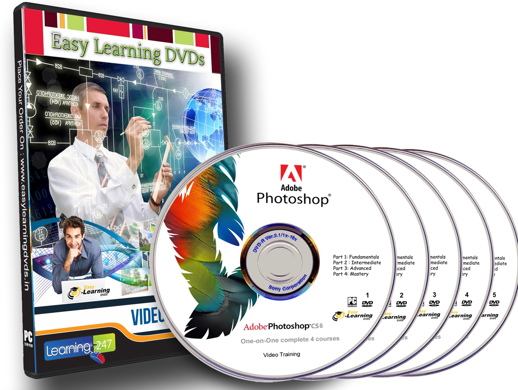 Easy Learning Photoshop CS6 Complete 4 Courses (5 Video DVDs Pack)(DVD)