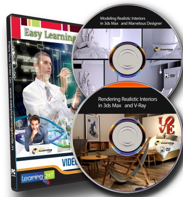 Easylearning Modeling & Rendering Realistic Interiors in 3ds Max and V-Ray Video Training Tutorial on 2 DVDs