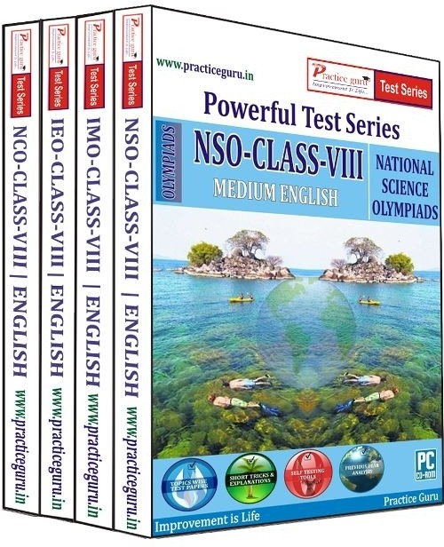 Practice Guru Powerful Test Series (IMO / NSO / IEO / NCO) Medium English (Class - 8) (Combo Pack)