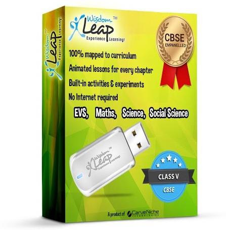 WisdomLeap Class 5 Maths, Evs, Science And Social Science(USB Flash Drive)
