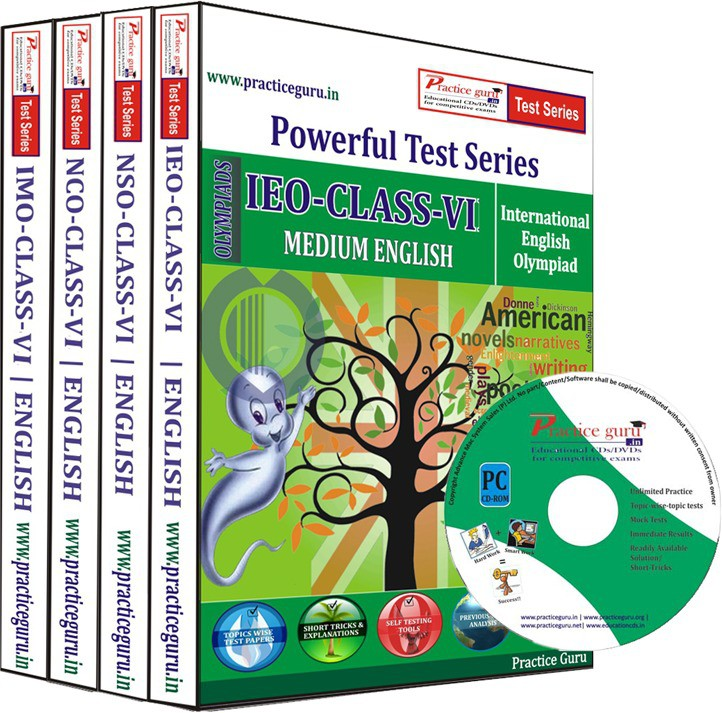 Practice Guru Class 6 - Combo Pack (IMO / NSO / IEO / NCO) Test Series(CD)