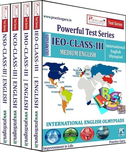 Practice Guru Powerful Test Series (IMO / NSO / IEO / NCO) Medium English (Class - 3) (Combo Pack)