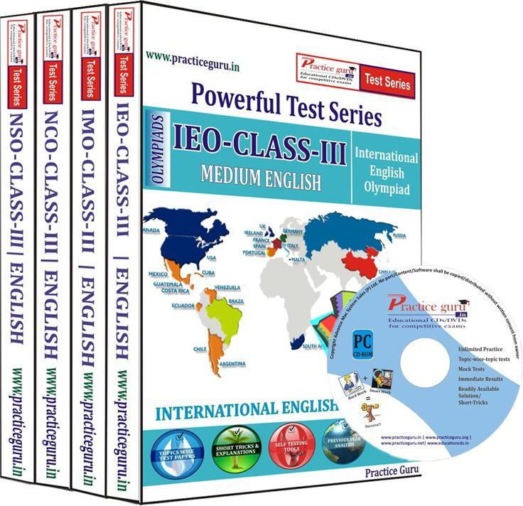 Practice Guru Class 3 - Combo Pack (IMO / NSO / IEO / NCO) Test Series(CD)