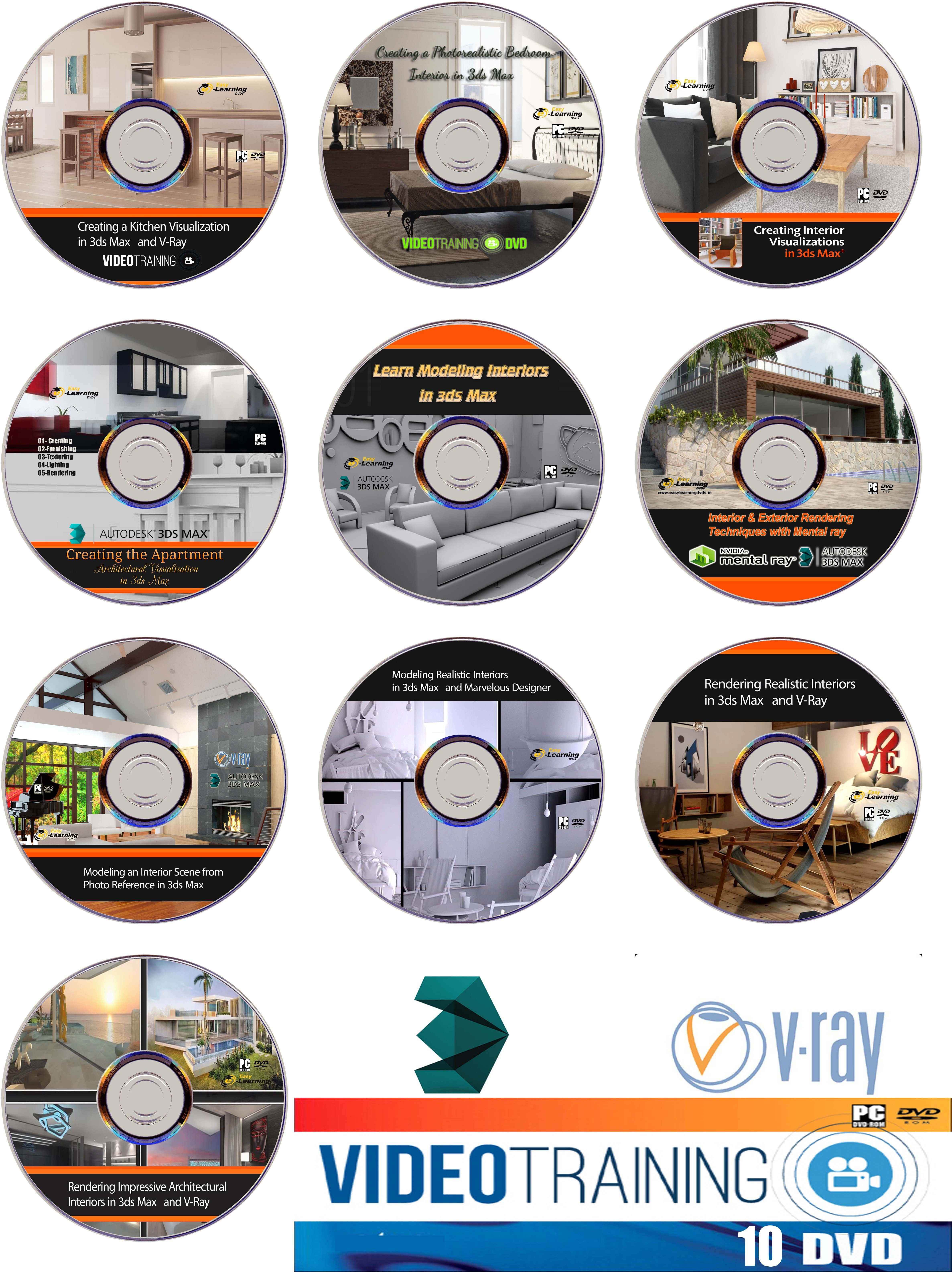 Easy Learning Designing Interiors in 3ds Max Video Training 12 Courses Bundle Pack on 10 DVDs(DVD)