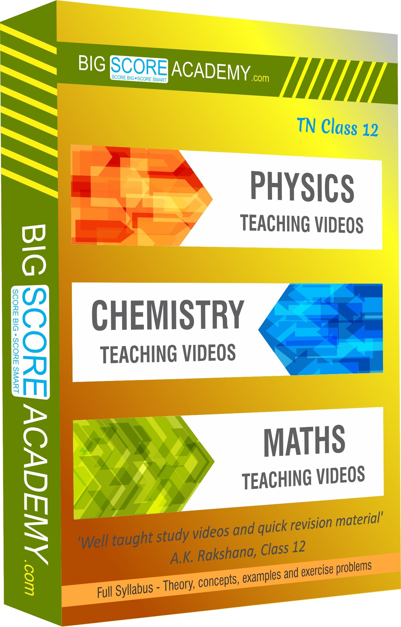 BigScoreAcademy.com Tamil Nadu Samacheer Kalvi Class 12 Combo Pack - Physics, Chemistry and Maths Full Syllabus Teaching Video(DVD)