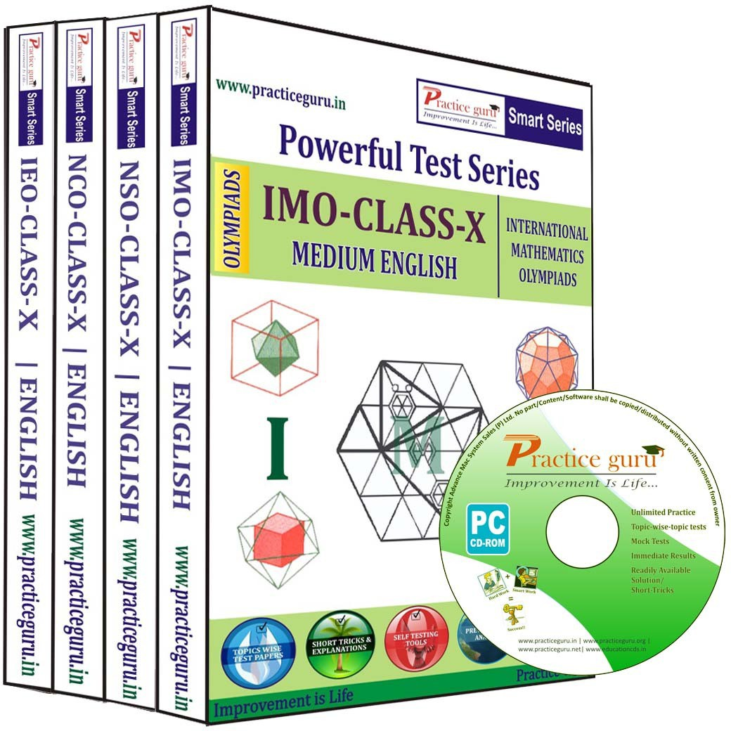 Practice Guru Powerful Test Series (IMO / NSO / NCO / IEO) Medium English (Class - 10) (Combo Pack)