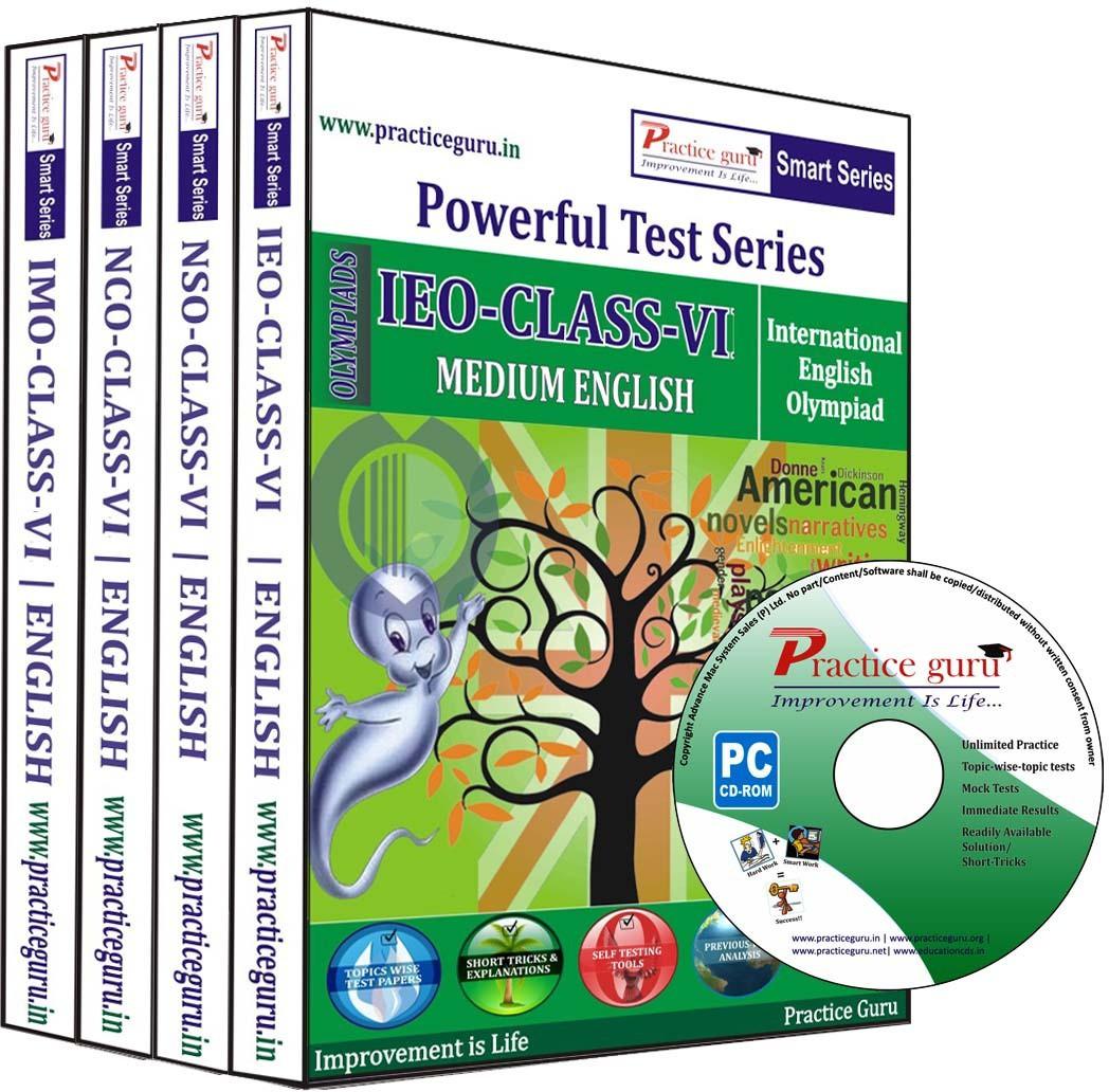 Practice Guru Powerful Test Series (IEO / NSO / NCO / IMO) Medium English (Class - 6) (Combo Pack)(CD)