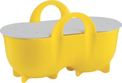 Trudeau Egg Dual Poacher with lid Silicone Egg Separator(Yellow, Pack of 1)