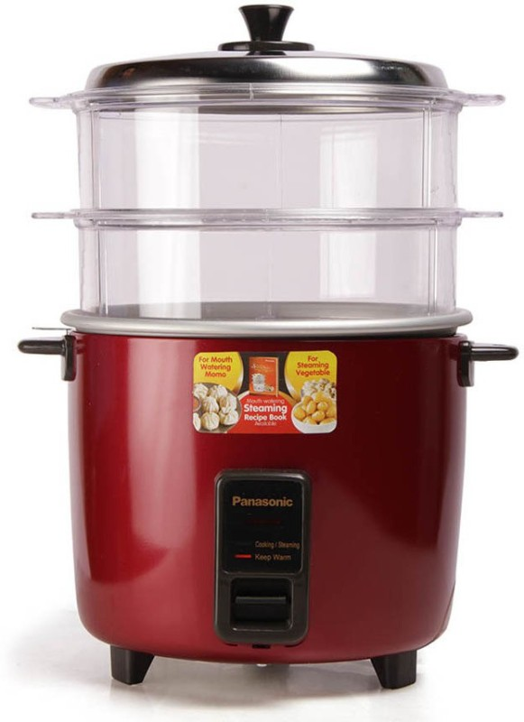Panasonic SR-WA22H(SS0 Rice Cooker, Food Steamer(5.4 L, Red)