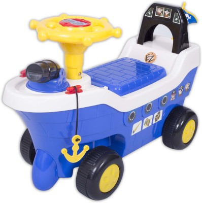 Ez, Playmates Pirate Ship Fun Ride On Blue Car(Blue)