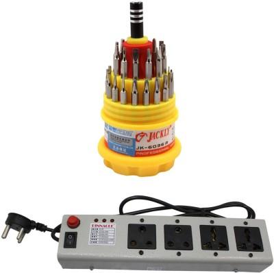 Pinnacle 4 Socket 1.5 Meter Cord Regular Series Computer Buster + Jackly Multi screwdriver Set of 2 Electrical Combo(Pack of 2)