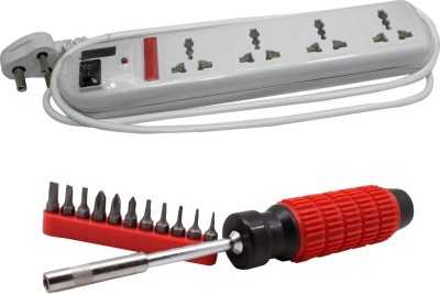 Pinnacle 6 Socket 1 Switch 3 Meter Cord With Heav Brass Contact Series + Moller screwdriver set of 2 Kit Electrical Combo