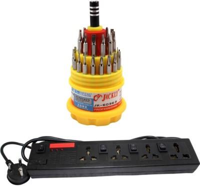 Pinnacle 4 Socket Individual Switch 5 Meter Cord Regular Series Computer Buster + Jackly Multi screwdriver Set of 2 Electrical Combo(Pack of 2)