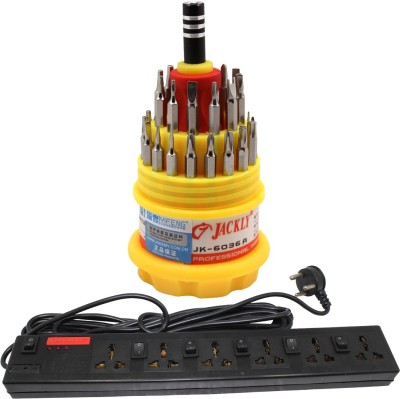 Pinnacle 4 Socket 1 Switch 5 Meter Cord Deluxe Series + Jackly Multi screwdriver set of 2 Electrical Combo(Pack of 2)